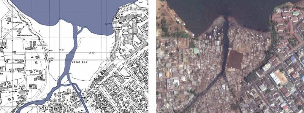 mappa e foto aerea slum kroo bay